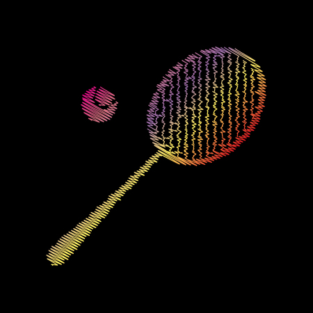 tennis racquet: Tennis racquet sign. Coloful chalk effect on black backgound. Illustration