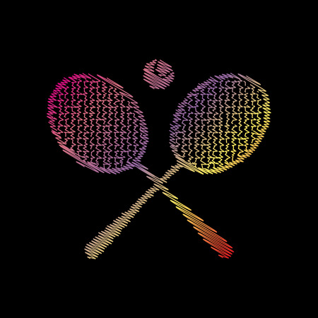 Tennis racket sign. Coloful chalk effect on black backgound.