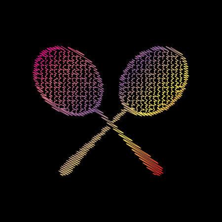 Tennis racquets sign. Coloful chalk effect on black backgound.