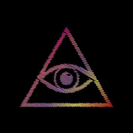 ojo de horus: Todo lo ve símbolo de la pirámide del ojo. Masón y espiritual. COLOFUL tiza efecto en backgound negro.