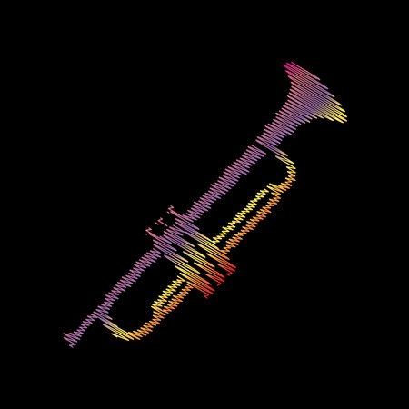 Musical instrument Trumpet sign. Coloful chalk effect on black backgound.