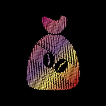 Coffee bag Icon. Coffee bag Vector. Coffee bag Icon Button. Coloful chalk effect on black backgound.