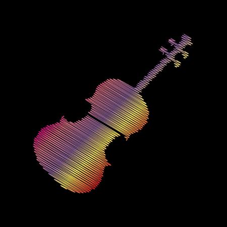 Violine sign illustration. Coloful chalk effect on black backgound.