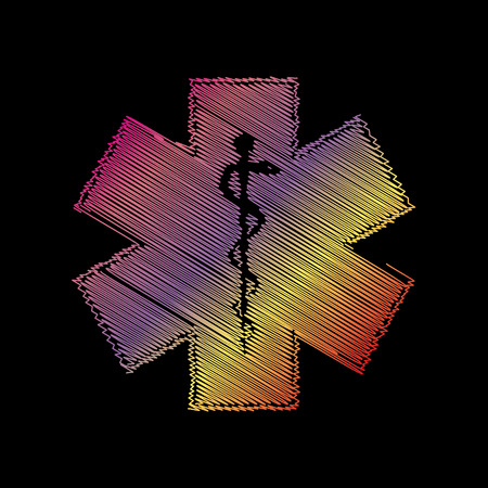 staff of aesculapius: Medical symbol of the Emergency or Star of Life. Coloful chalk effect on black backgound.