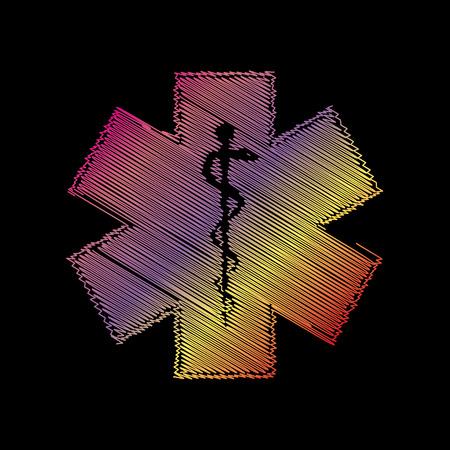 estrella de la vida: símbolo médico de la emergencia o Estrella de la vida. COLOFUL tiza efecto en backgound negro.