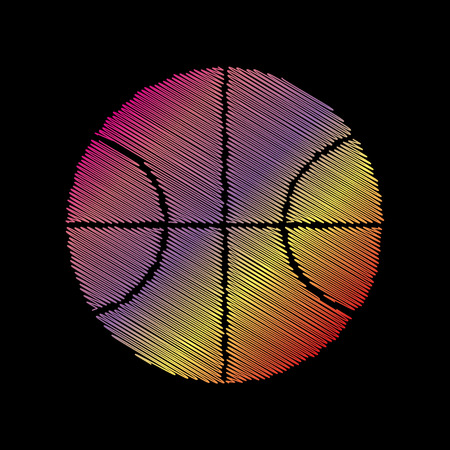coloful: Basketball ball sign illustration. Coloful chalk effect on black backgound.