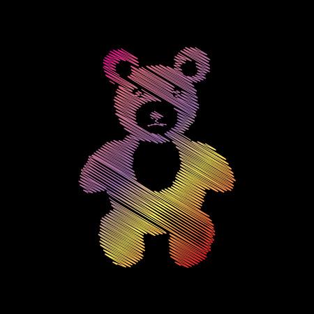 Teddy bear sign illustration. Coloful chalk effect on black backgound.