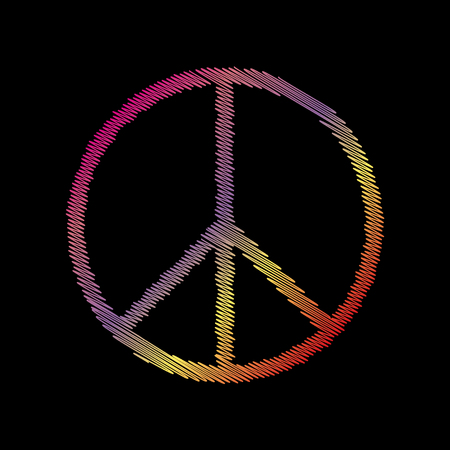 black backgound: Peace sign illustration. Coloful chalk effect on black backgound.