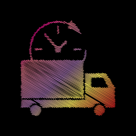 coloful: Delivery sign illustration. Coloful chalk effect on black backgound. Illustration