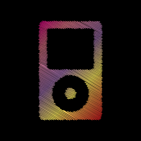 coloful: Portable music device. Coloful chalk effect on black backgound.