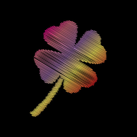 irish culture: Leaf clover sign. Coloful chalk effect on black backgound.