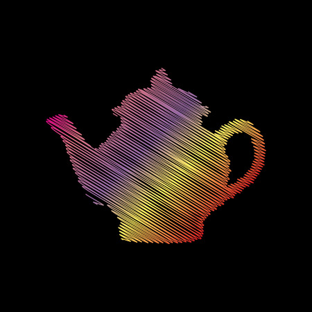 preparations: Tea maker sign. Coloful chalk effect on black backgound. Illustration