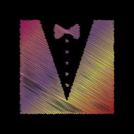 black backgound: Tuxedo with bow silhouette. Coloful chalk effect on black backgound.