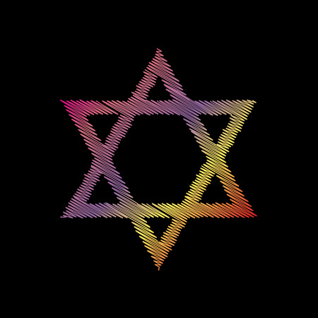 magen david: Shield Magen David Star. Symbol of Israel. Coloful chalk effect on black backgound. Illustration