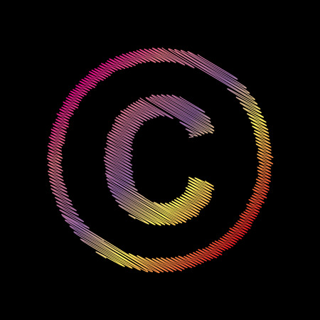 Copyright sign illustration. Coloful chalk effect on black backgound.