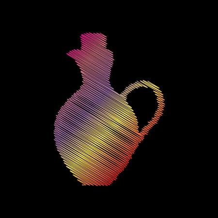 simplified: Amphora sign illustration. Coloful chalk effect on black backgound. Illustration