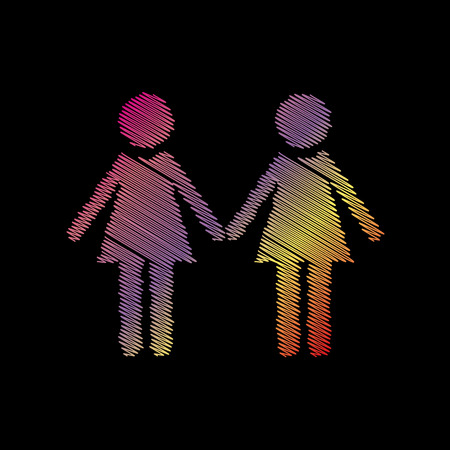 Lesbian family sign. Coloful chalk effect on black backgound.