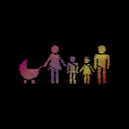 coloful: Family sign illustration. Coloful chalk effect on black backgound. Illustration