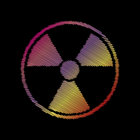 Radiation Round sign. Coloful chalk effect on black backgound.