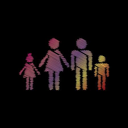 black family: Family sign illustration. Coloful chalk effect on black backgound. Illustration