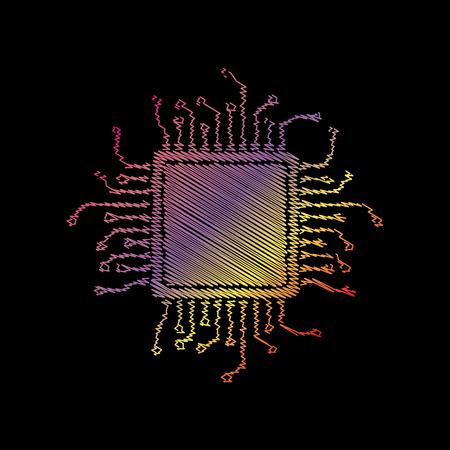 microprocessor: CPU Microprocessor illustration. Coloful chalk effect on black backgound. Illustration