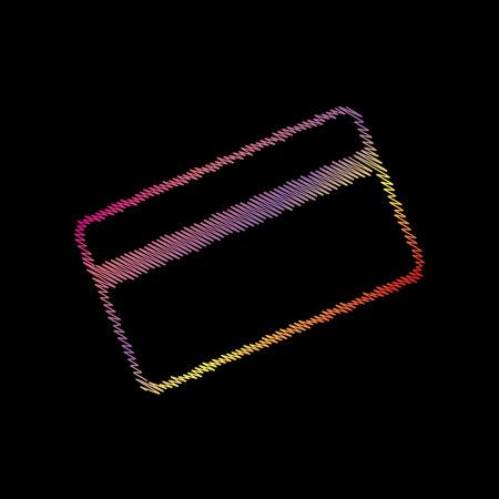 Credit card symbol for download. Coloful chalk effect on black backgound. Illustration