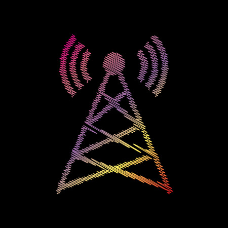black backgound: Antenna sign illustration. Coloful chalk effect on black backgound.