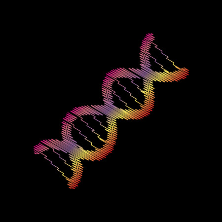 The DNA sign. Coloful chalk effect on black backgound. Illustration