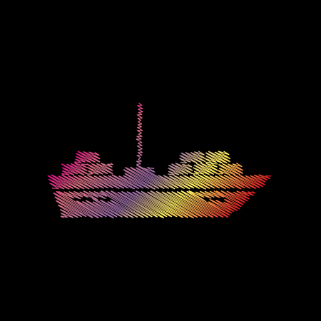 coloful: Ship sign illustration. Coloful chalk effect on black backgound.