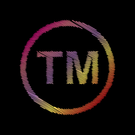 Trade mark sign. Coloful chalk effect on black backgound.