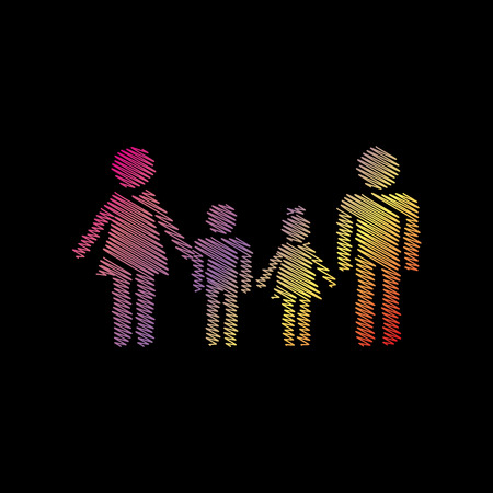 Family sign. Coloful chalk effect on black backgound. Illustration