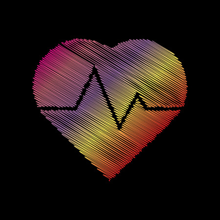 black backgound: Heartbeat sign illustration. Coloful chalk effect on black backgound.