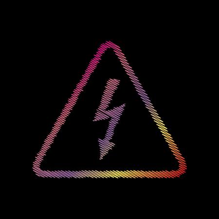 voltage danger: High voltage danger sign. Coloful chalk effect on black backgound. Illustration