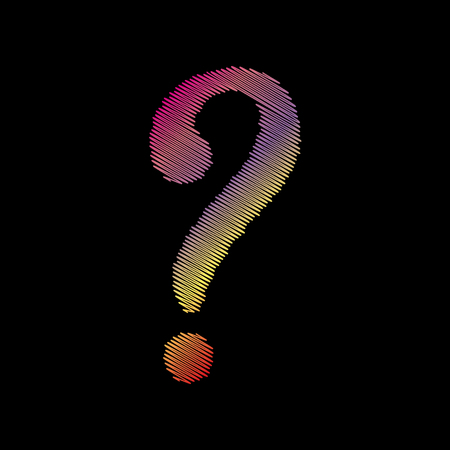 black backgound: Question mark sign. Coloful chalk effect on black backgound.