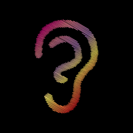 audible: Human ear sign. Coloful chalk effect on black backgound. Illustration