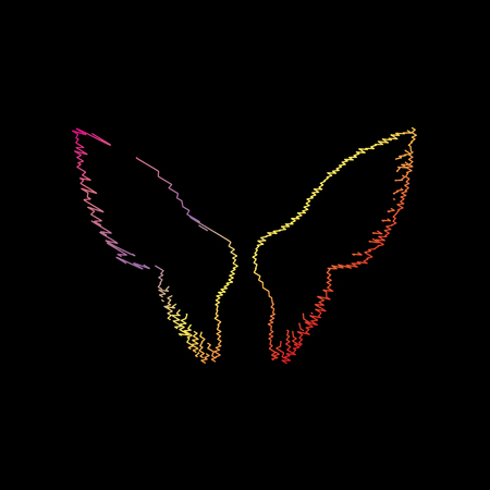 Wings sign illustration. Coloful chalk effect on black backgound.