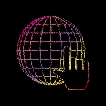 Earth Globe with cursor. Coloful chalk effect on black backgound.