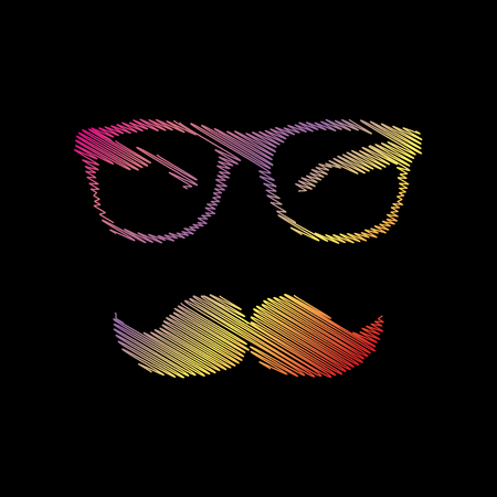 Mustache and Glasses sign. Coloful chalk effect on black backgound.