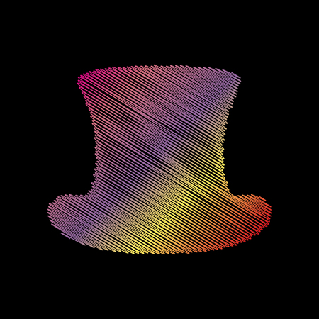 Top hat sign. Coloful chalk effect on black backgound.