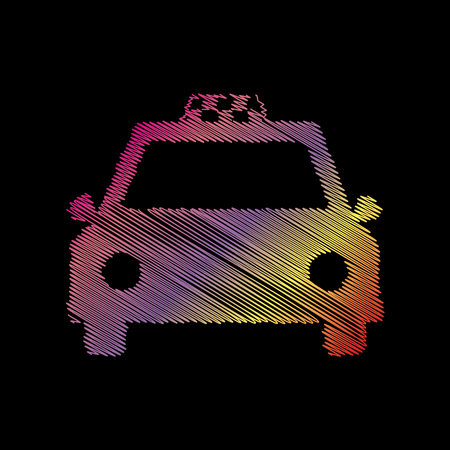 Taxi sign illustration. Coloful chalk effect on black backgound.