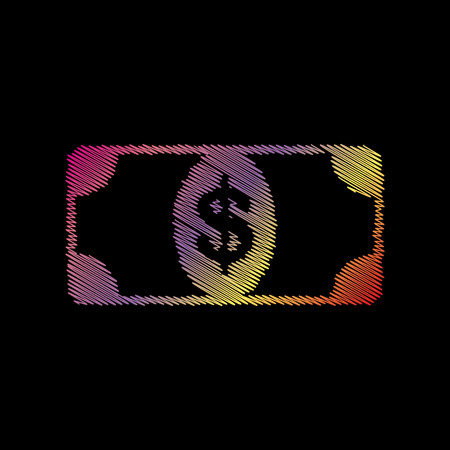 black backgound: Bank Note dollar sign. Coloful chalk effect on black backgound.