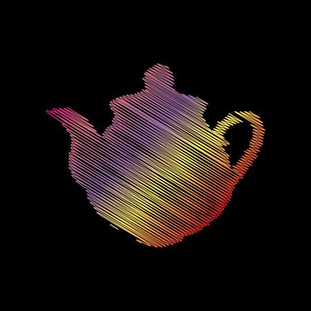 Tea maker sign. Coloful chalk effect on black backgound. Illustration