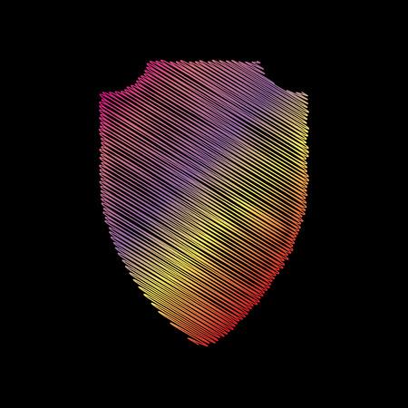 Shield sign illustration. Coloful chalk effect on black backgound.