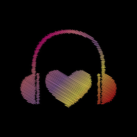 black backgound: Headphones with heart. Coloful chalk effect on black backgound.
