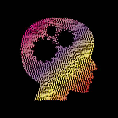 Thinking head sign. Coloful chalk effect on black backgound.