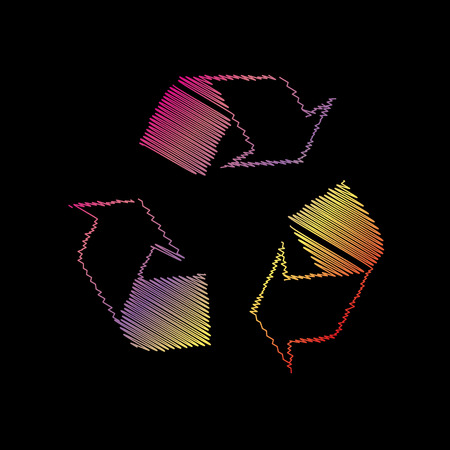 coloful: Recycle logo concept. Coloful chalk effect on black backgound.
