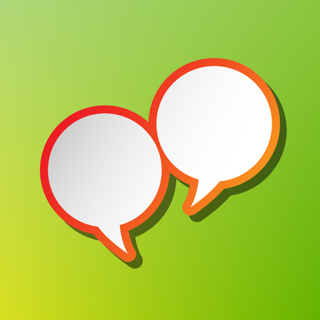 illustrating: Speech bubble sign. Contrast icon with reddish stroke on green backgound.