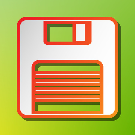 Floppy disk sign. Contrast icon with reddish stroke on green backgound.