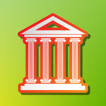 Historical building illustration. Contrast icon with reddish stroke on green backgound.