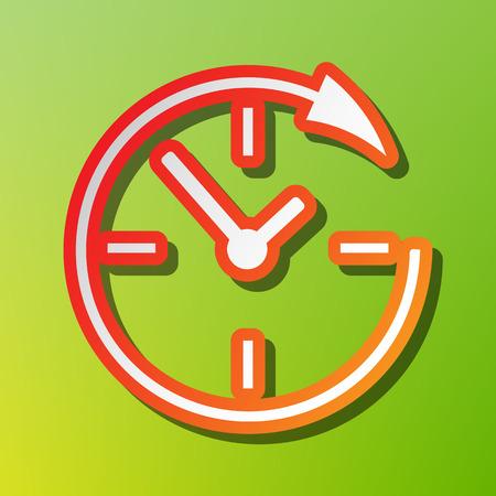 24 시간 및 24 시간 내내 고객을위한 서비스 및 지원. 녹색 backgound에 붉은 뇌졸중과 대비 아이콘입니다.